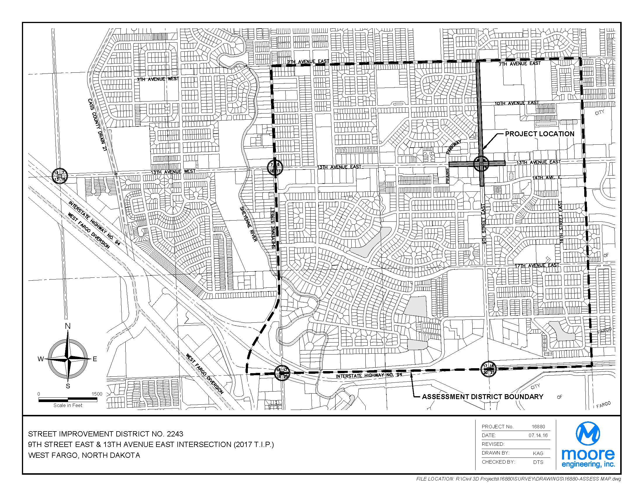District No. 2243 Ninth Street E. and 13th Avenue E. Intersection Assessment District Boundary Map