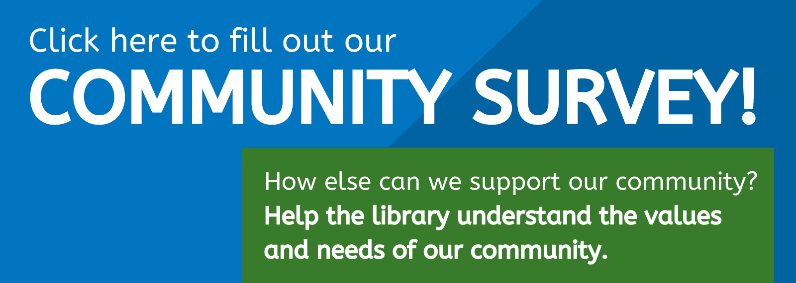 Click here to take our Community Input Survey in English